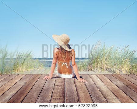 Woman Wearing Bikini in a Summer Vacation