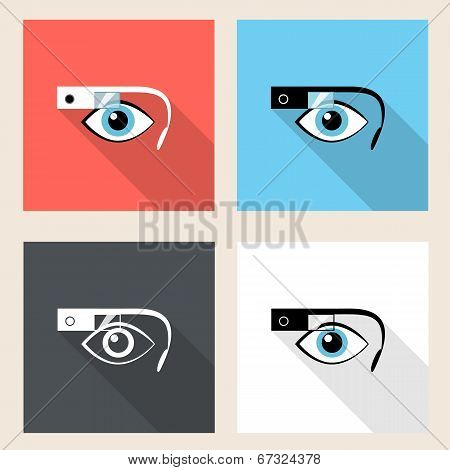 Google glasses icon set