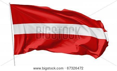 Flag Of Latvia On Flagpole