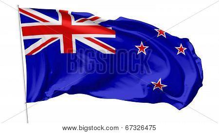 Flag Of New Zealand On Flagpole