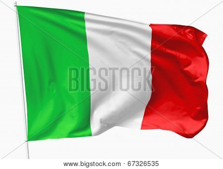 Flag Of Italy On Flagpole