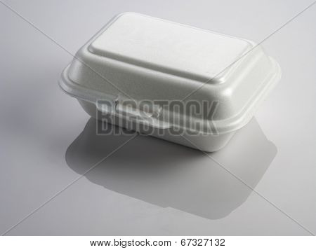 Styrofoam of food container with reflection