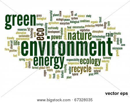 Vector eps concept or conceptual abstract green environment and ecology and conservation word cloud text on white background