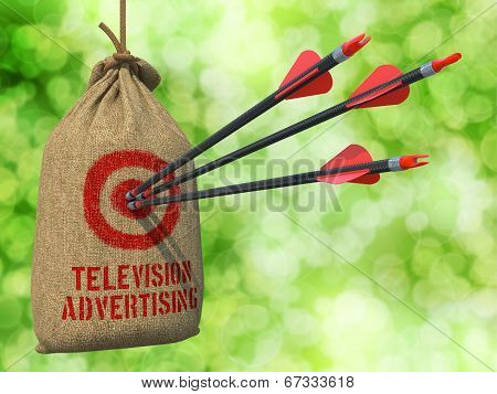 Television Advertising - Arrows Hit in Red Mark Target.
