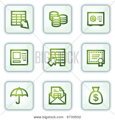 Banking web icons, white square buttons series