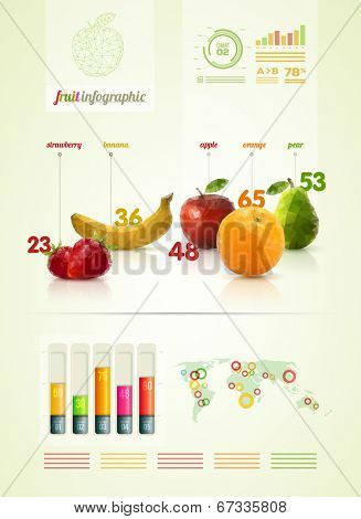 Vector triangle polygonal fruit infographic design template.