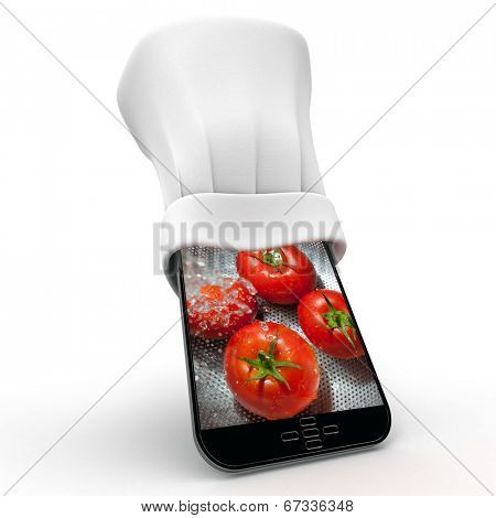 Tablet wearing a chefs toque with the picture of fresh tomatoes