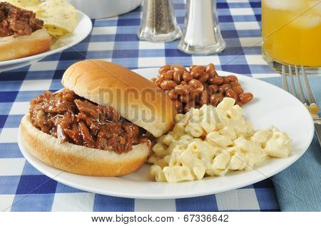 Barbecue Beef Sandwich On A Picnic Table