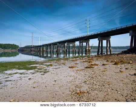 Bridge with power lines