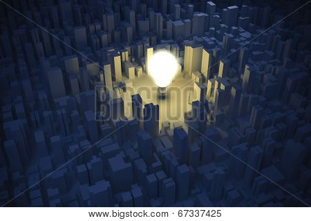 3d image of bright light bulb and city, green energy concept