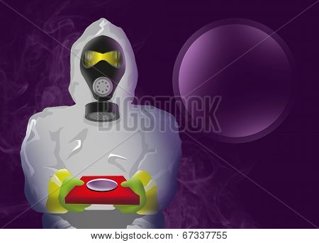 Man in Biohazard suit holding dangerous material.