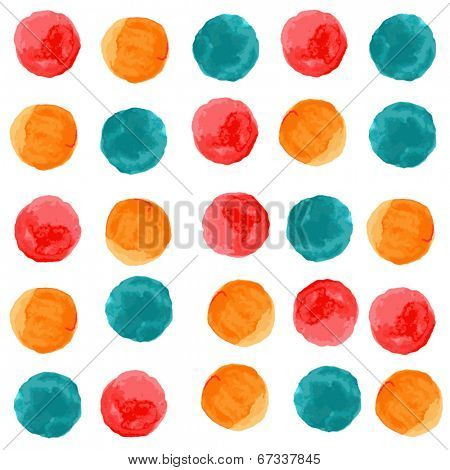 Vector watercolor circles seamless pattern. Retro stile hand drawn ornament. Painted colorful ornament