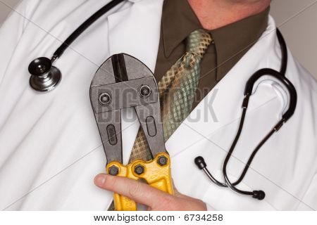 Doctor With Stethoscope Holding A Cable Cutters