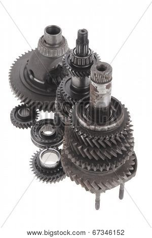 real used motor steel gear transmission parts isolated on white background