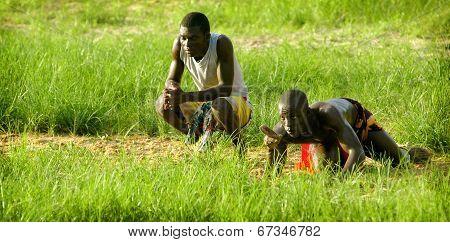 SENEGAL - SEPTEMBER 19: Men in the traditional struggle (wrestle) of Senegal, September 19, 2007 in