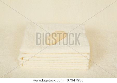 Soft fluffy towels and soap