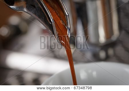 Coffee Extraction Process From Professional Espresso Machine