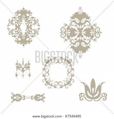 Set of damask patterns elements