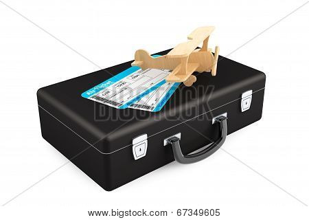 Case, Aeroplane And Airline Boarding Pass Ticket