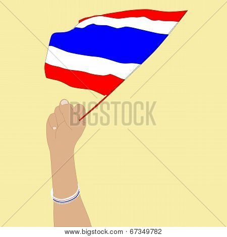 Human Hand With Thailand Flag Wristband