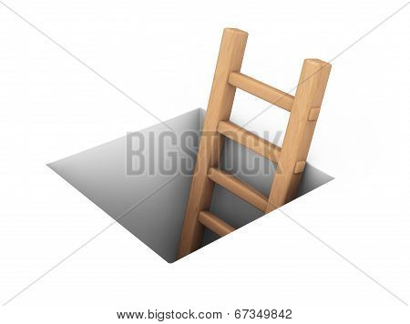 Wooden Ladder In Square Hole