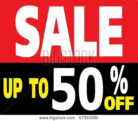 Sale Up To 50 Percents Promotion Label