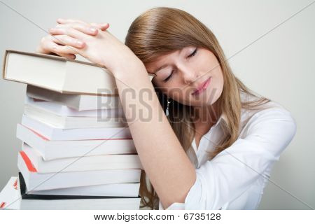 Bussines Woman Sleep On Books