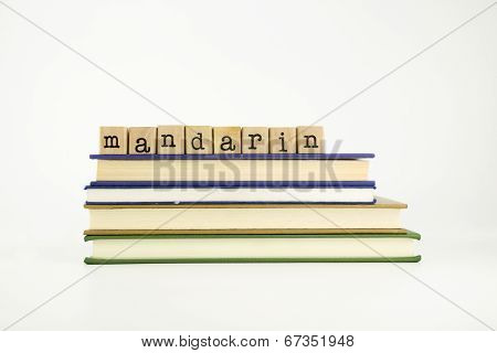 Mandarin Language Word On Wood Stamps And Books