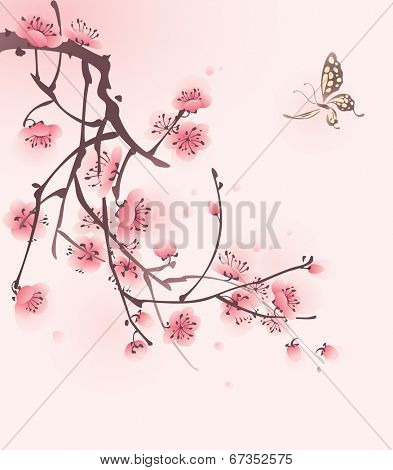 Cherry blossom and butterfly, vectorized brush painting.