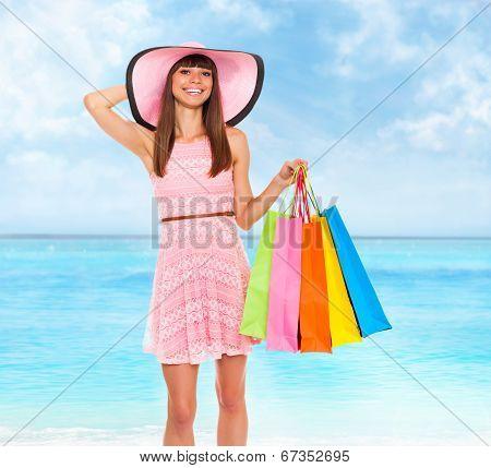 summer vacation woman pink dreess hat