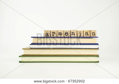 Armenian Language Word On Wood Stamps And Books