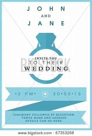 Wedding invitation blue ring theme