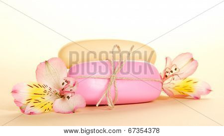 Different pieces of soap and  flower