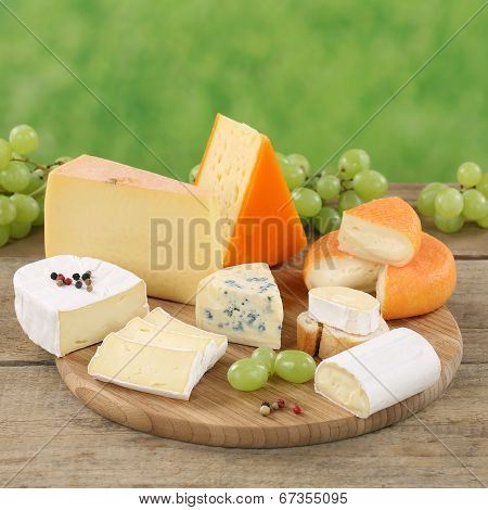 Plate With Camembert, Gouda And Swiss Cheese