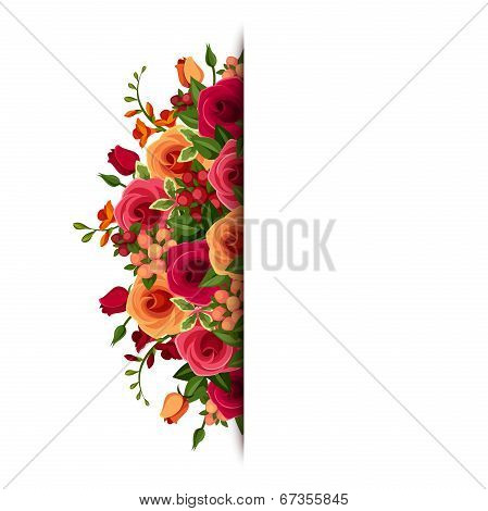 Background with roses and freesia flowers. Vector eps-10.
