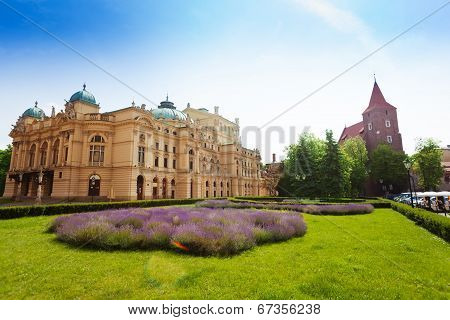 Juliusz Slowacki Theatre in sunny day, Krakow