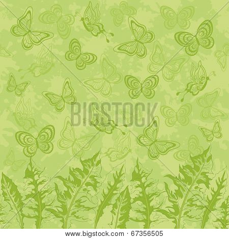 Seamless pattern, leaves and butterflies