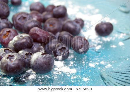 Blueberries Of Blue Glass Plate