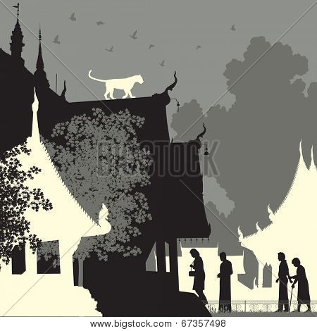 Editable vector silhouette of a leopard on a Buddhist temple roof with figures as separate objects