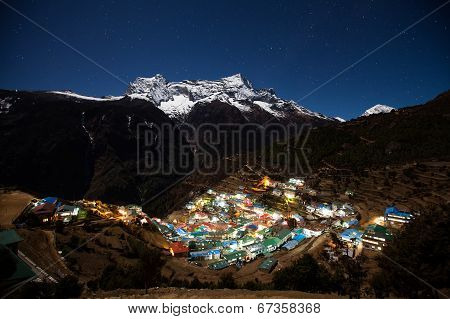 Nupla And Tartikha Peak And Namchebazar From Nepal In Everest Himalaya Trek