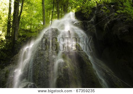 waterfall in sunlight in a green forest