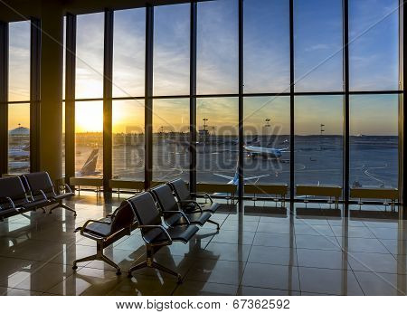 Silhouettes Of Interior In The Airport