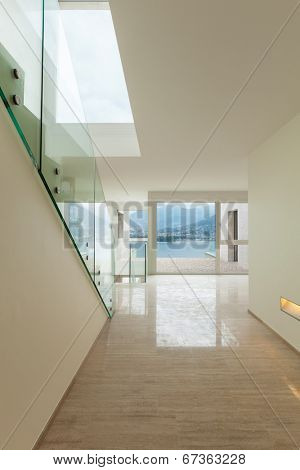 Interior, modern penthouse, view from the passage