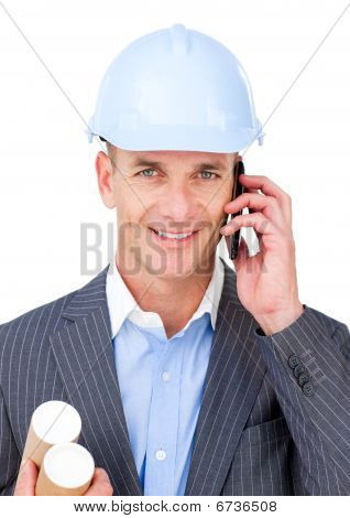 Self-assured Male Engineer Talking On Phone
