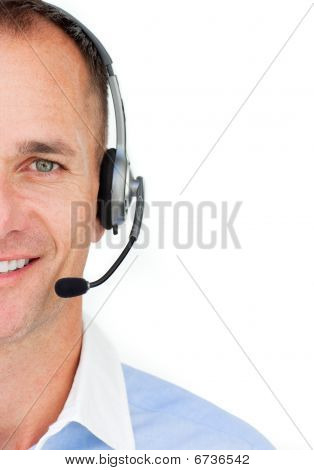 Close-up Of A Businessman Using Headset