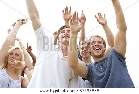 Young people at music festival