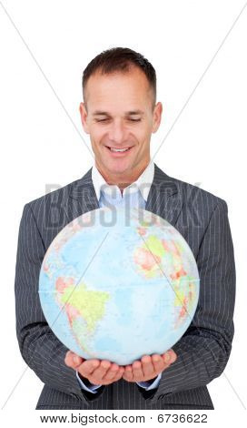 Businessman Smiling At Global Business Expansion