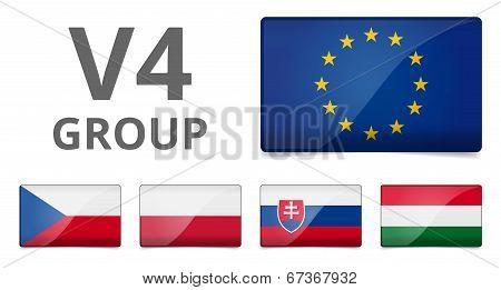 V4 Visegrad Group Country Flag