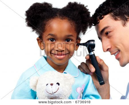 Confident doctor examining his young patient