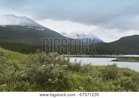 Patagonian Landscape With Mountains And Snow
